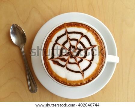 Hot mocha coffee on wood background  #402040744