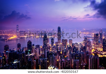 Hong Kong from the Victoria peak Royalty-Free Stock Photo #402050167