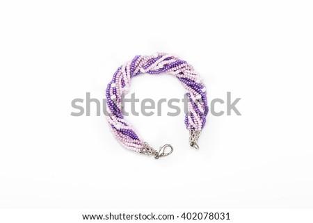 Purple beaded bracelet #402078031