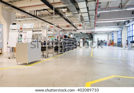 General view inside a cable processing and high-end module and sensor production factory, Sofia, FESTO Bulgaria, September 11, 2015. #402089710