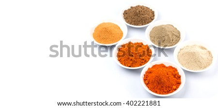 Various kind of hot and spicy chili powder in white bowl over white  background #402221881