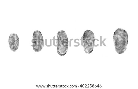 Identification and security concept. Fingerprints on a white background #402258646