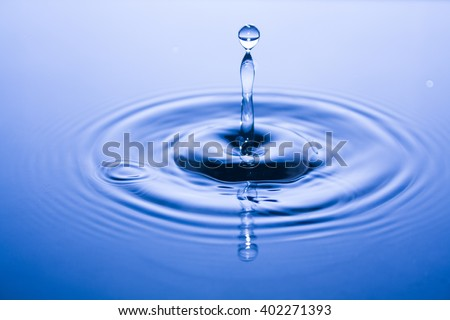 Water Drop, Close up View of Water Drop Splash on calm blue water surface