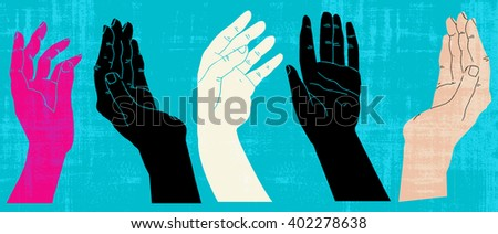 five hands in different colors in a row