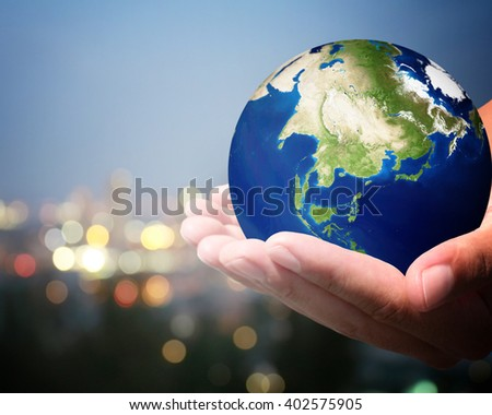 The world is on hold for the city bokeh blur background. Elements of this image furnished by NASA. #402575905