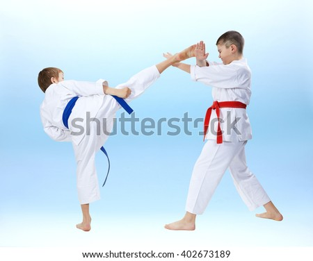 Two boys are trained punches and blocks karate #402673189