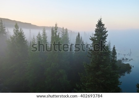 Twilight landscape, misty morning on the lake in Charlevoix forest, Quebec, Canada #402693784