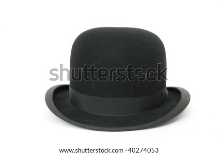 A stylish black bowler hat - isolated on white background #40274053