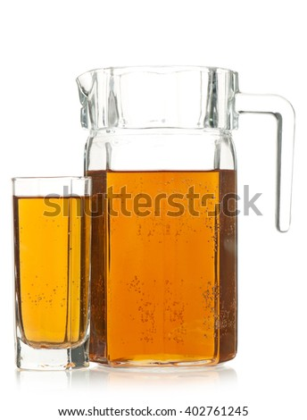 Fresh apple juice in the glass isolated on a white background #402761245