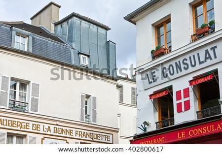 Paris,  France - October 4, 2009: Montmartre, hotel and restaurants in Rue S.Rustique. #402800617