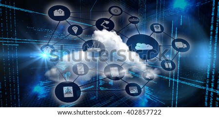 Smartphone apps icons against illustration of virtual data #402857722