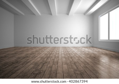 Empty white room with wooden floor Royalty-Free Stock Photo #402867394
