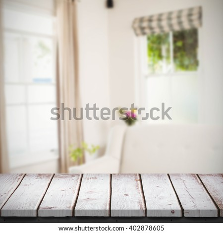 Wooden table against sitting room #402878605