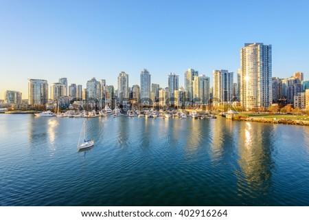 View from the Cambie Bridge. Downtown skyline in Vancouver, Canada. #402916264