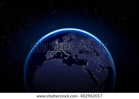 Planet earth with city lights - Europe Africa and middle east Elements of this image furnished by NASA #402962017
