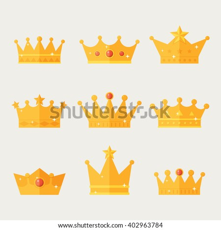 Set of gold crown icons. Collection of crown awards for winners, champions, leadership. Vector isolated elements for logo, label, game,  hotel, an app design. Royal king, queen, princess crown.
