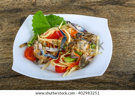 Thai spice crab salad with papaya #402983251