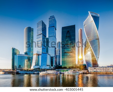 Moscow City - view of skyscrapers Moscow International Business Center. #403005445