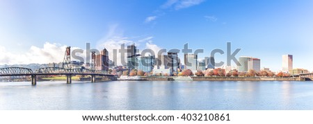 tranquil water with cityscape and skyline in portland