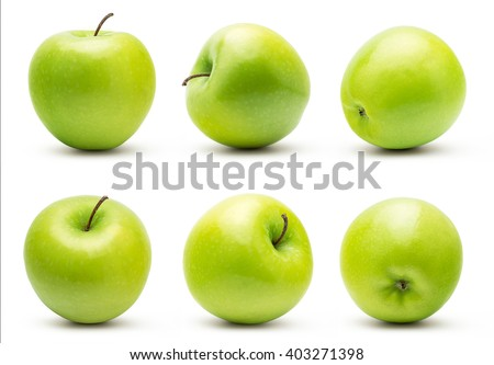 The Set of Prefect Cleaned Green Apple Isolated on White Background. #403271398