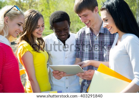 Group of student with notebook outdoor #403291840