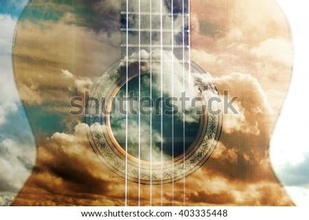 Acoustic guitar composition.Double exposure.Music concept. Acoustic guitar design