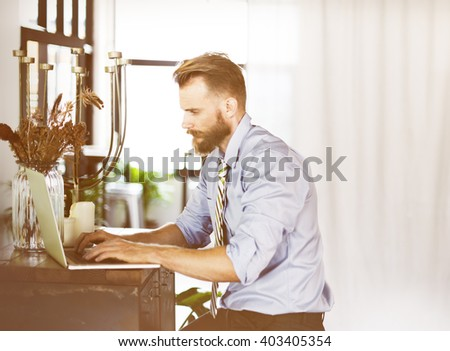 Businessman Using Laptop Working Thinking Concept #403405354