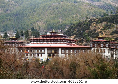 Tashichho Dzong is a Buddhist monastery and fortress on the northern edge of the city of Thimpu in Bhutan #403526146