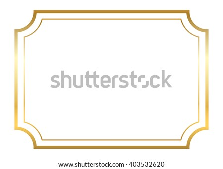 Gold frame. Beautiful simple golden design. Vintage style decorative border, isolated on white background. Deco elegant art object. Empty copy space for decoration, photo, banner. Vector illustration. Royalty-Free Stock Photo #403532620