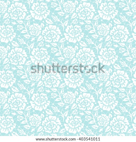 Seamless white lace background with floral pattern #403541011