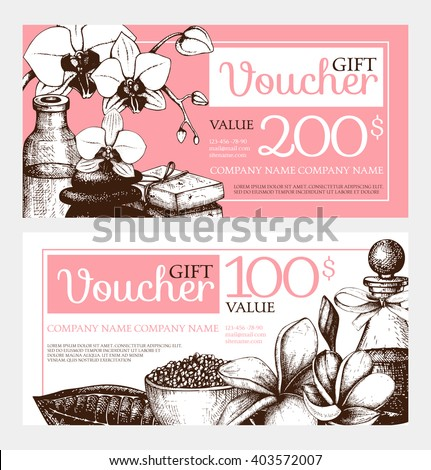Vector Gift voucher design with hand drawn spa illustration. Vintage sketch background with orchids and plumeria flowers. Gift voucher template for beauty salon. #403572007