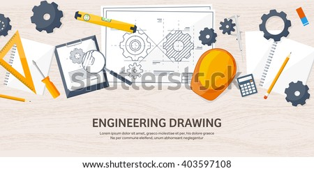 Engineering and architecture design.Flat style.Technical drawing,mechanical engineering.Building construction,trends in design or architecture.Engineering workplace with tools.Industrial architecture. Royalty-Free Stock Photo #403597108