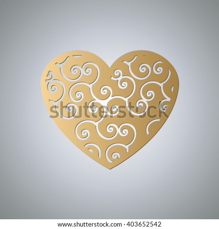 Heart for laser cutting. Heart decoration. Clipped heart shape. Golden Heart of paper. Heart paper with curls. #403652542