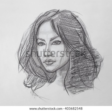 Female Portrait. Pencil Drawing. The Fine Art Portrait of the Young Woman. Female Face. Human Head. Sketch. Hand Drawing. It is a Pencil Drawing.