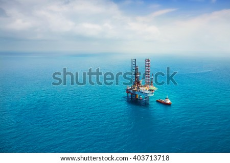 Oil rig in the gulf with copy space #403713718
