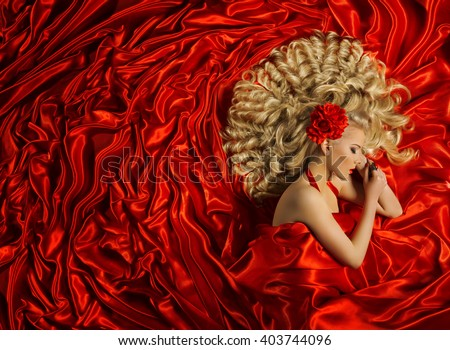 Hair Style, Woman Curly Hairstyle, Fashion Model Long Curl Hair, Girl on Red Color #403744096