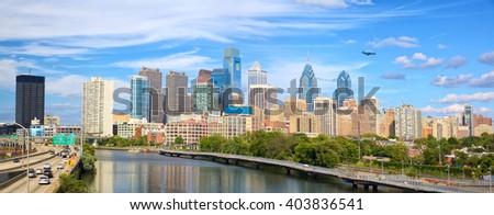 Philadelphia downtown skyline panorama, United States