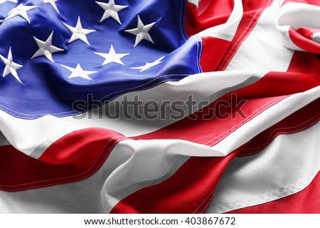 Flag of United States of America closeup Royalty-Free Stock Photo #403867672