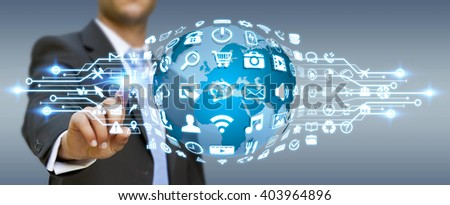 Businessman holding digital web earth with modern icons #403964896