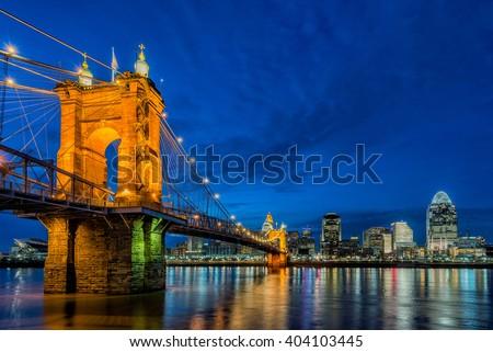 Cincinnati skyline at twilight