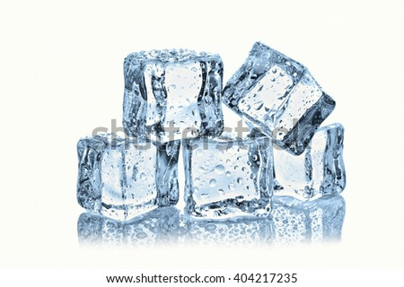 ice cubes with water drops on white background #404217235
