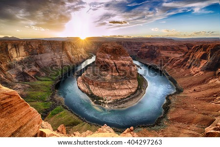 Sunset moment at Horseshoe bend Grand Canyon National Park. Colorado River. famous view point. #404297263
