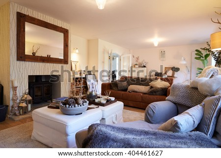 Lounge Area Of Contemporary Family Home #404461627