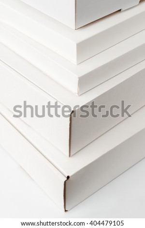 Closeup of white cardboard boxes background  #404479105