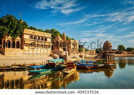 Gadi Sagar - artificial lake. Jaisalmer, Rajasthan, India Royalty-Free Stock Photo #404519536