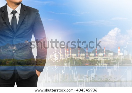 Double exposure of businessman with  financial graph on blurred industrial background. #404545936