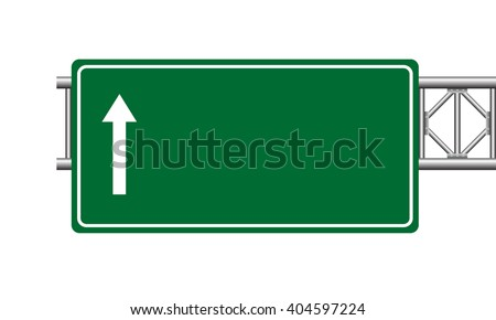 Green highway sign board. Isolated vector illustration on white background.