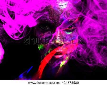 psychodelic surreal portrait of a beautiful young woman in violet smoke