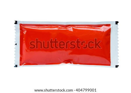 tomato sauce ketchup sachet package Royalty-Free Stock Photo #404799001
