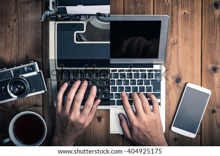 Typewriters and laptop Royalty-Free Stock Photo #404925175